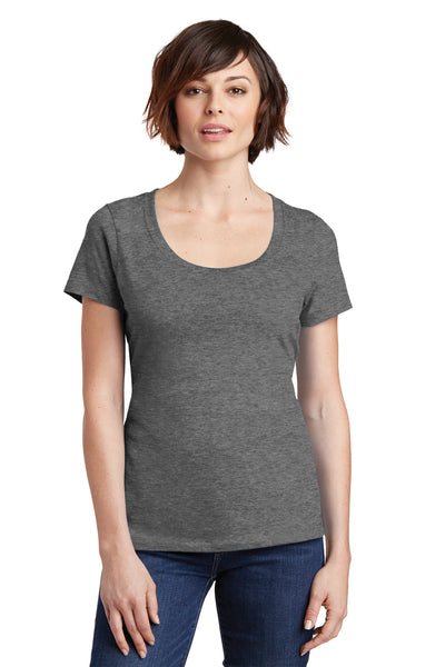 District DM106L Womens Perfect Weight Short Sleeve Scoop Neck T-Shirt Heather Nickel Grey Front
