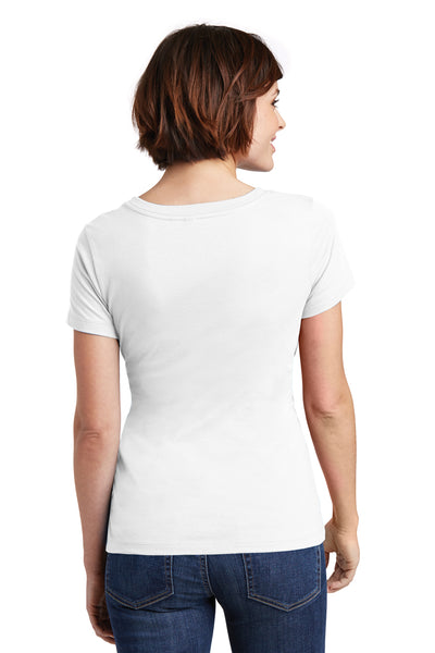 District DM106L Womens Perfect Weight Short Sleeve Scoop Neck T-Shirt White Back
