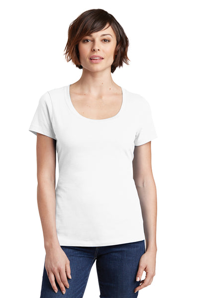 District DM106L Womens Perfect Weight Short Sleeve Scoop Neck T-Shirt White Front