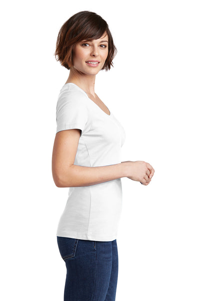 District DM106L Womens Perfect Weight Short Sleeve Scoop Neck T-Shirt White Side
