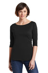 District DM107L Womens Perfect Weight 3/4 Sleeve T-Shirt Black Front