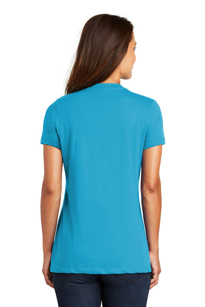 District DM1170L Womens Perfect Weight Short Sleeve V-Neck T-Shirt Turquoise Blue Back