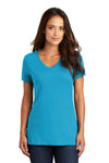 District DM1170L Womens Perfect Weight Short Sleeve V-Neck T-Shirt Turquoise Blue Front