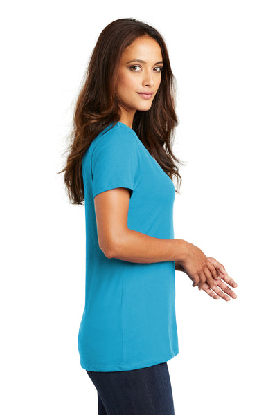 District DM1170L Womens Perfect Weight Short Sleeve V-Neck T-Shirt Turquoise Blue Side