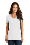District DM1170L Womens Perfect Weight Short Sleeve V-Neck T-Shirt White Front