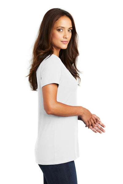 District DM1170L Womens Perfect Weight Short Sleeve V-Neck T-Shirt White Side