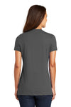 District DM1170L Womens Perfect Weight Short Sleeve V-Neck T-Shirt Charcoal Grey Back