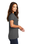 District DM1170L Womens Perfect Weight Short Sleeve V-Neck T-Shirt Charcoal Grey Side