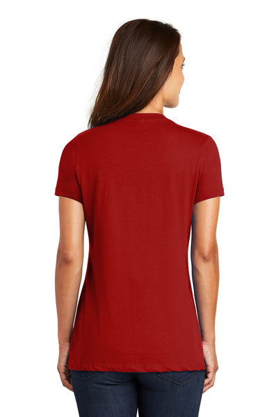 District DM1170L Womens Perfect Weight Short Sleeve V-Neck T-Shirt Red Back