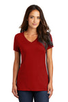 District DM1170L Womens Perfect Weight Short Sleeve V-Neck T-Shirt Red Front