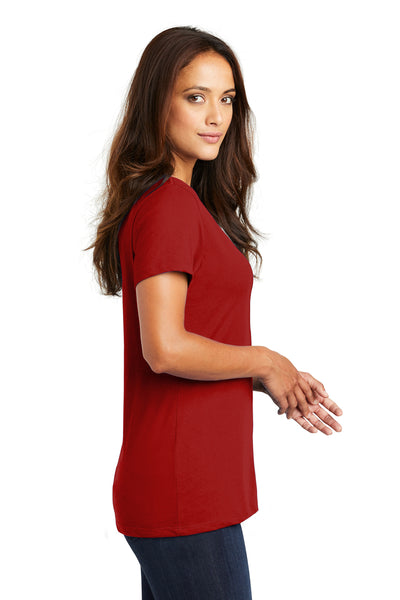 District DM1170L Womens Perfect Weight Short Sleeve V-Neck T-Shirt Red Side