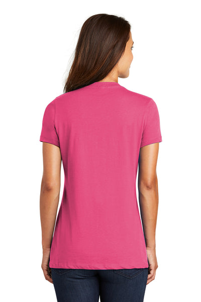 District DM1170L Womens Perfect Weight Short Sleeve V-Neck T-Shirt Fuchsia Pink Back