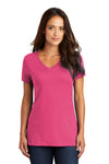 District DM1170L Womens Perfect Weight Short Sleeve V-Neck T-Shirt Fuchsia Pink Front