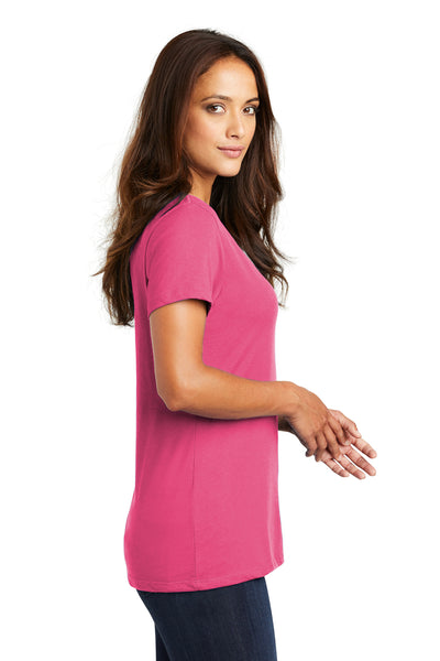 District DM1170L Womens Perfect Weight Short Sleeve V-Neck T-Shirt Fuchsia Pink Side