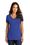 District DM1170L Womens Perfect Weight Short Sleeve V-Neck T-Shirt Royal Blue Front