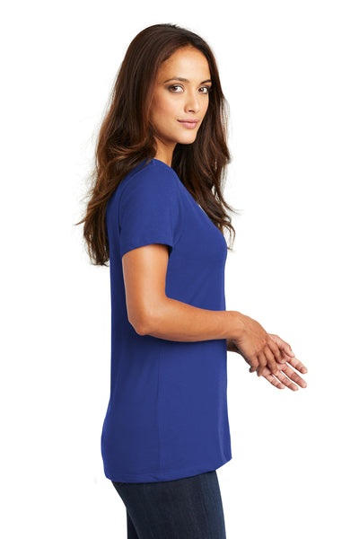 District DM1170L Womens Perfect Weight Short Sleeve V-Neck T-Shirt Royal Blue Side