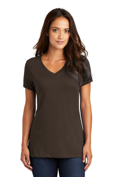 District DM1170L Womens Perfect Weight Short Sleeve V-Neck T-Shirt Espresso Brown Front