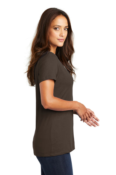 District DM1170L Womens Perfect Weight Short Sleeve V-Neck T-Shirt Espresso Brown Side
