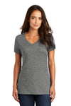 District DM1170L Womens Perfect Weight Short Sleeve V-Neck T-Shirt Heather Nickel Grey Front