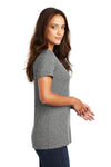 District DM1170L Womens Perfect Weight Short Sleeve V-Neck T-Shirt Heather Nickel Grey Side