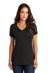 District DM1170L Womens Perfect Weight Short Sleeve V-Neck T-Shirt Black Front
