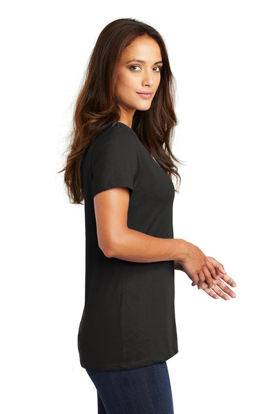 District DM1170L Womens Perfect Weight Short Sleeve V-Neck T-Shirt Black Side