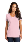 District DM1170L Womens Perfect Weight Short Sleeve V-Neck T-Shirt Light Pink Front
