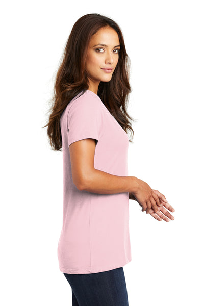 District DM1170L Womens Perfect Weight Short Sleeve V-Neck T-Shirt Light Pink Side