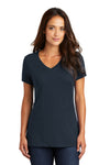 District DM1170L Womens Perfect Weight Short Sleeve V-Neck T-Shirt Navy Blue Front
