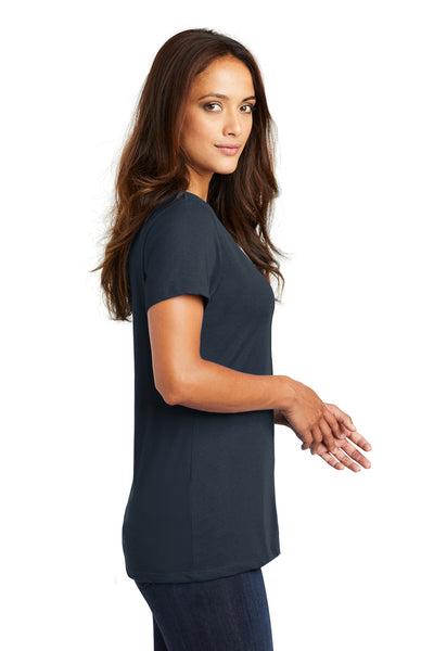 District DM1170L Womens Perfect Weight Short Sleeve V-Neck T-Shirt Navy Blue Side