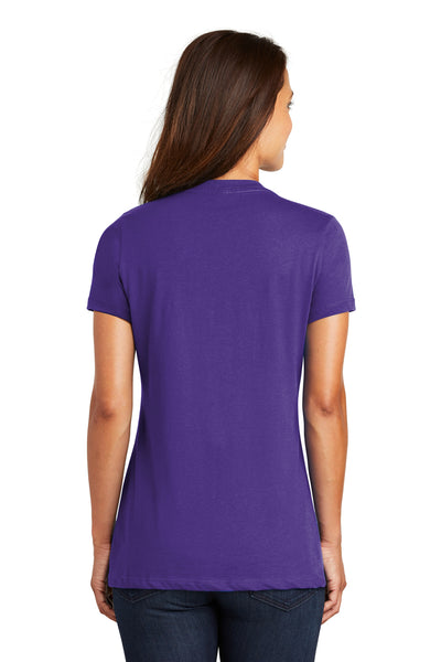 District DM1170L Womens Perfect Weight Short Sleeve V-Neck T-Shirt Purple Back