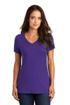 District DM1170L Womens Perfect Weight Short Sleeve V-Neck T-Shirt Purple Front