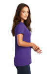 District DM1170L Womens Perfect Weight Short Sleeve V-Neck T-Shirt Purple Side