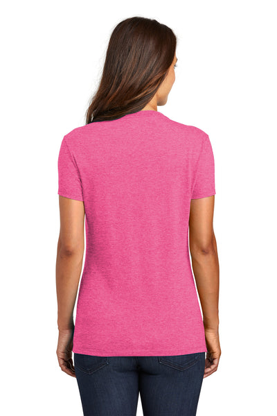 District DM130L Womens Perfect Tri Short Sleeve Crewneck T-Shirt Fuchsia Pink Frost Back