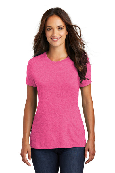 District DM130L Womens Perfect Tri Short Sleeve Crewneck T-Shirt Fuchsia Pink Frost Front