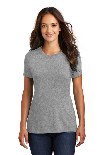 District DM130L Womens Perfect Tri Short Sleeve Crewneck T-Shirt Grey Frost Front
