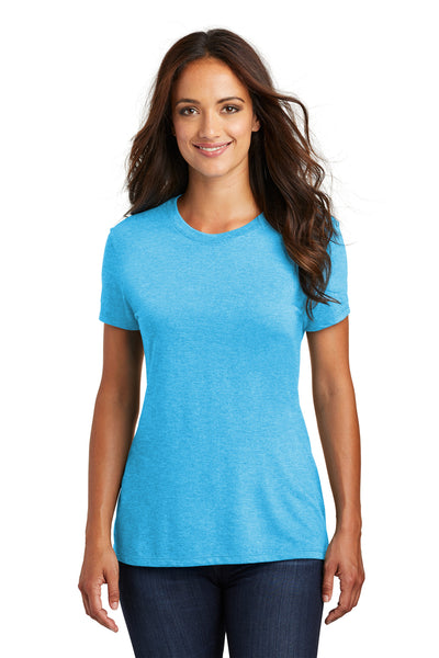 District DM130L Womens Perfect Tri Short Sleeve Crewneck T-Shirt Turquoise Blue Frost Front