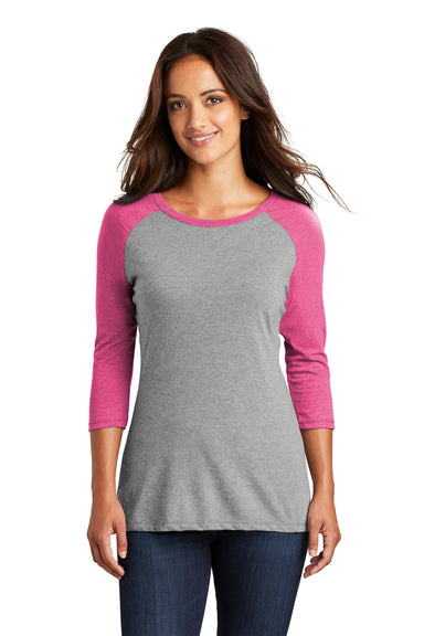 District DM136L Womens Perfect Tri 3/4 Sleeve Crewneck T-Shirt Grey Frost/Fuchsia Pink Front