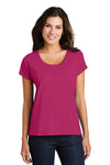 District DM412 Womens Drapey Dolman Short Sleeve Scoop Neck T-Shirt Azalea Pink Front