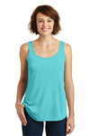 District DM414 Womens Drapey Tank Top Aqua Blue Front