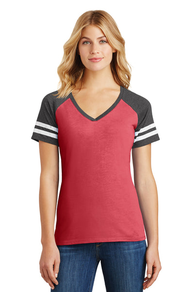 District DM476 Womens Game Short Sleeve V-Neck T-Shirt Heather Red/Charcoal Grey Front