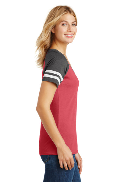 District DM476 Womens Game Short Sleeve V-Neck T-Shirt Heather Red/Charcoal Grey Side