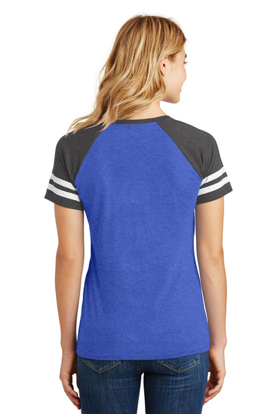 District DM476 Womens Game Short Sleeve V-Neck T-Shirt Heather Royal Blue/Charcoal Grey Back