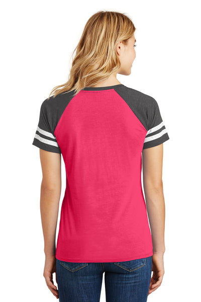 District DM476 Womens Game Short Sleeve V-Neck T-Shirt Heather Pink/Charcoal Grey Back
