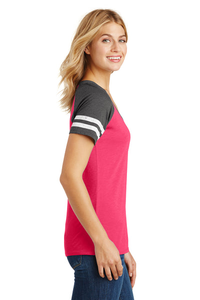 District DM476 Womens Game Short Sleeve V-Neck T-Shirt Heather Pink/Charcoal Grey Side