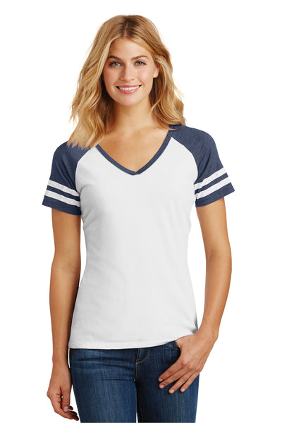 District DM476 Womens Game Short Sleeve V-Neck T-Shirt White/Heather Navy Blue Front
