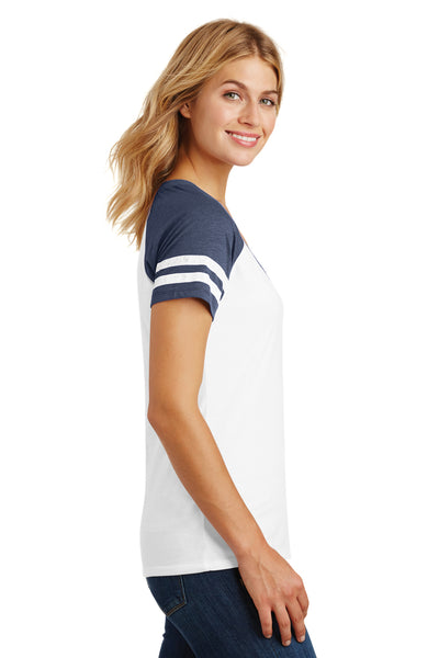 District DM476 Womens Game Short Sleeve V-Neck T-Shirt White/Heather Navy Blue Side