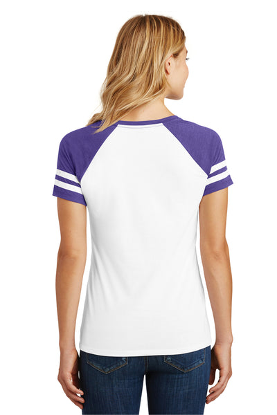 District DM476 Womens Game Short Sleeve V-Neck T-Shirt White/Heather Purple Back