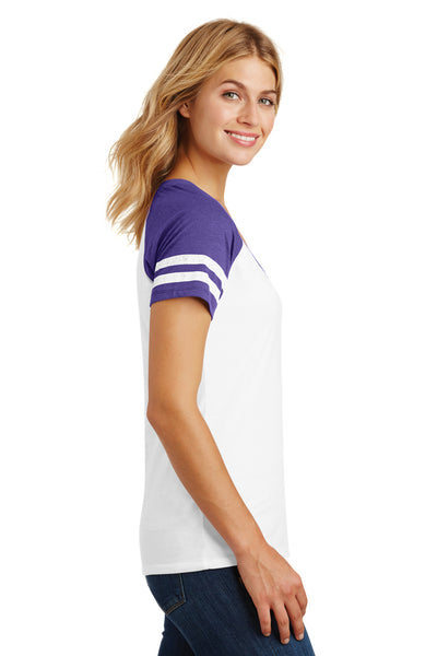 District DM476 Womens Game Short Sleeve V-Neck T-Shirt White/Heather Purple Side
