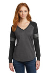 District DM477 Womens Game Long Sleeve V-Neck T-Shirt Heather Charcoal Grey/Black/Silver Grey Front
